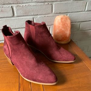 New, Plum Colored Suede Booties. Size 9